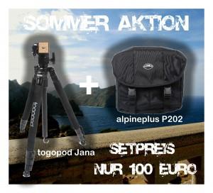 Exklusives Sommer Kit: Fotostativ togopod Traveler Jana + Fototasche alpineplus P202