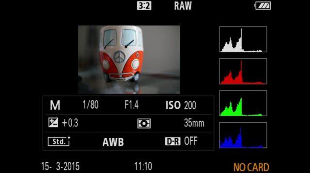 RGB-Histogramm nach der Aufnahme