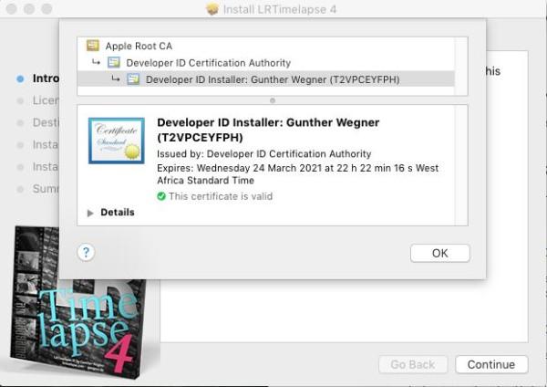 ...ein Klick darauf zeigt die Zertifizierungskette. Gott Apple ganz oben, sonst niemand.