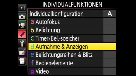 Individualfunktionen-Aufnahme