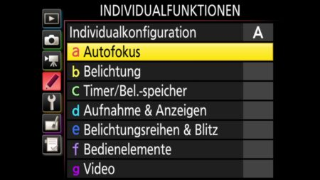Individualfunktionen-Autofokus