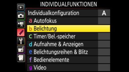 Individualfunktionen-Belichtung