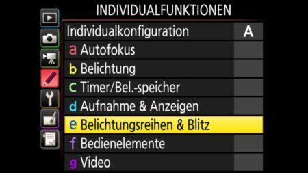 Individualfunktionen-Belichtungsreihe