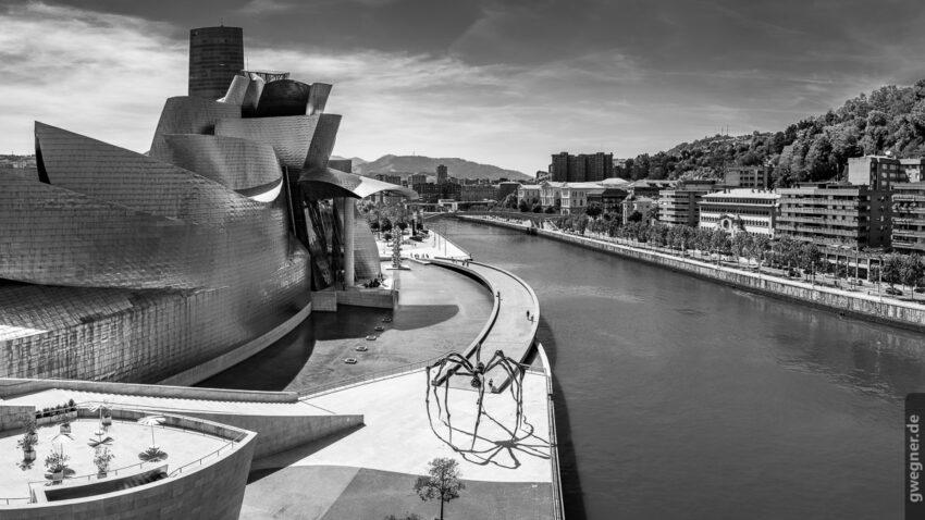 Bilbao, Links das Guggenheim Museum, rechts die gigantische Spinnen-Skulptur