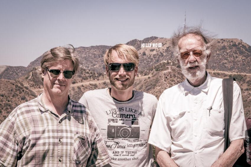 Casey, ich und Godfrey Reggio mit der Hollywood Tafel im Hintergrund