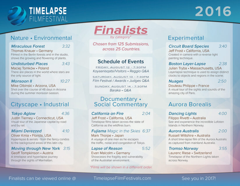 Time Lapse Film Festival 2016 - Finalists