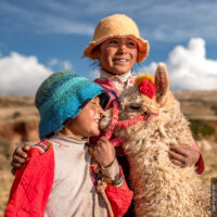 Mädchen mit Alpaca