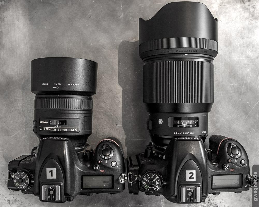 Sigma 85 F 14 Art Praxis Testbericht 105mm F14 Dg Hsm Lens For Canon Ef Grenvergleich Links Das Nikon 18 Und Rechts