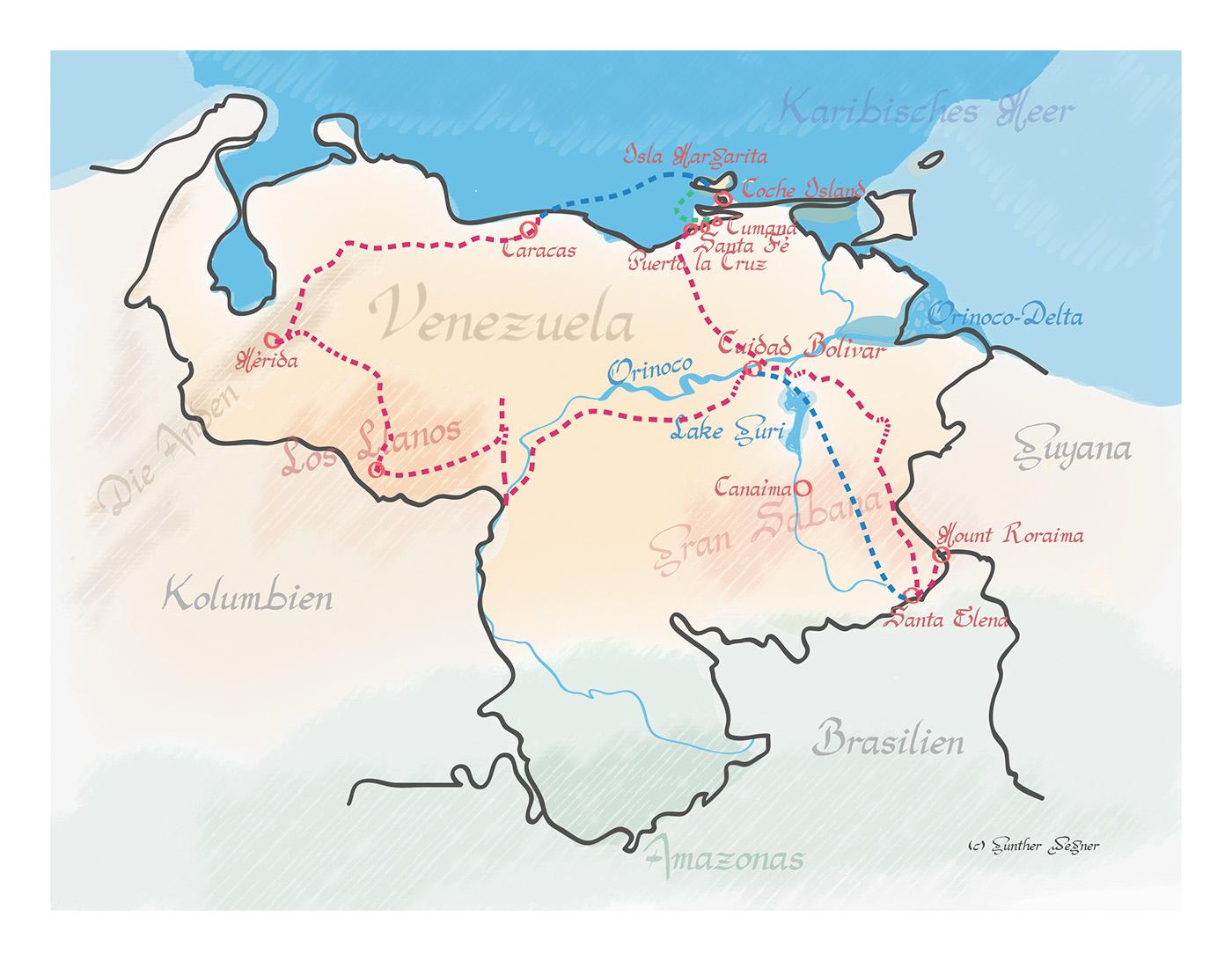 Venezuela Map - Die Landkarte zum Buch - gwegner.de